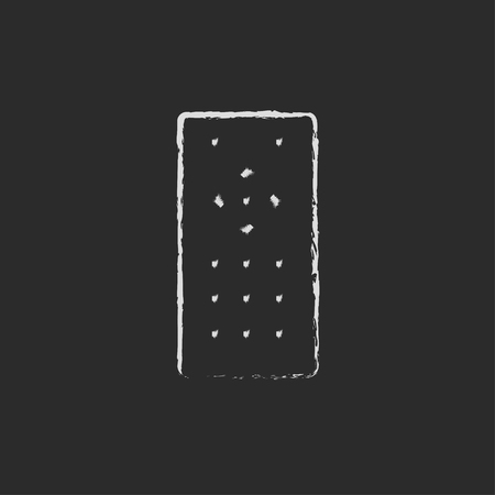 black appliances: Remote control hand drawn in chalk on a blackboard vector white icon isolated on a black background.