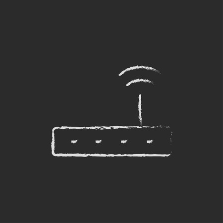 wireless communication: Wireless router hand drawn in chalk on a blackboard vector white icon isolated on a black background.
