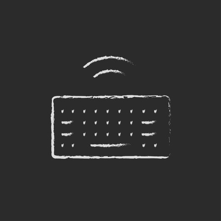 wireless icon: Wireless keyboard hand drawn in chalk on a blackboard vector white icon isolated on a black background. Illustration