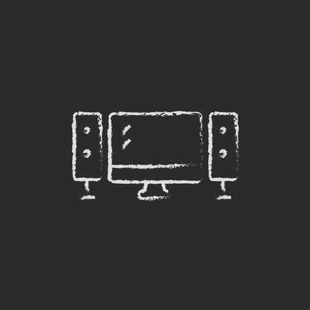 home cinema: Home cinema system hand drawn in chalk on a blackboard vector white icon isolated on a black background.