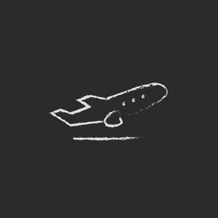 Plane taking off hand drawn in chalk on a blackboard vector white icon isolated on a black background.