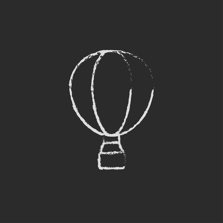 balon: Hot air hand drawn in chalk on a blackboard vector white icon isolated on a black background.