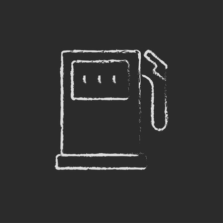 fillup: Gas station hand drawn in chalk on a blackboard vector white icon isolated on a black background.