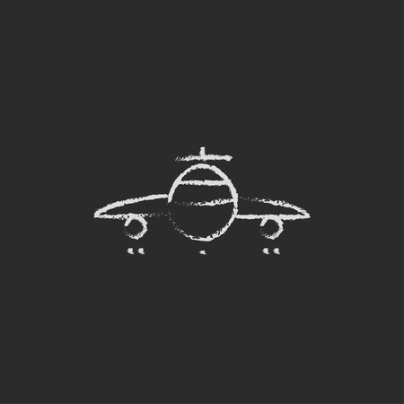 Airplane hand drawn in chalk on a blackboard vector white icon isolated on a black background. Vettoriali