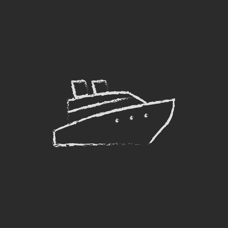 ship icon: Cruise ship hand drawn in chalk on a blackboard vector white icon isolated on a black background.