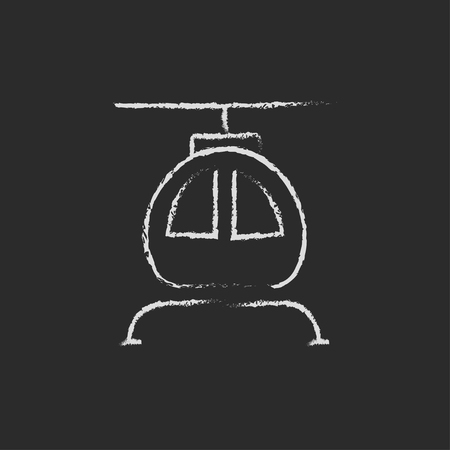 fuselage: Helicopter hand drawn in chalk on a blackboard vector white icon isolated on a black background.