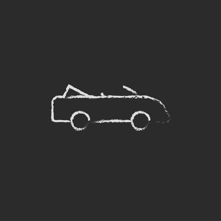 convertible car: Convertible car hand drawn in chalk on a blackboard vector white icon isolated on a black background.
