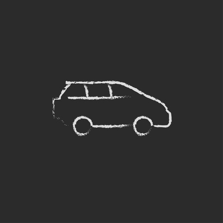 family van: Minivan hand drawn in chalk on a blackboard vector white icon isolated on a black background.