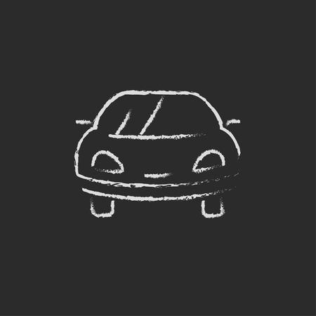 drive car: Car hand drawn in chalk on a blackboard vector white icon isolated on a black background.