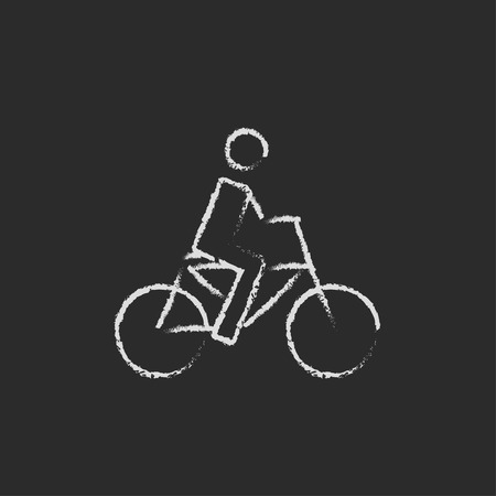 chalk drawing: Bike and cyclist hand drawn in chalk on a blackboard vector white icon isolated on a black background. Illustration