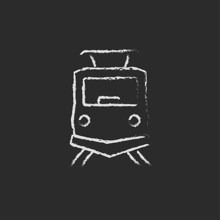 Front view of train hand drawn in chalk on a blackboard vector white icon isolated on a black background.