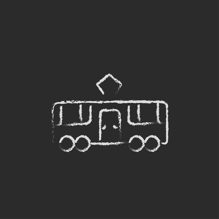 black train: Tram hand drawn in chalk on a blackboard vector white icon isolated on a black background.