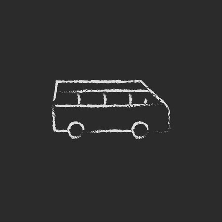 mini bus: Minibus hand drawn in chalk on a blackboard vector white icon isolated on a black background.