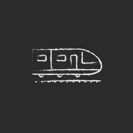 現代の高速鉄道手が黒い背景に分離された黒板白ベクトル アイコンにチョークで描かれました。  イラスト・ベクター素材