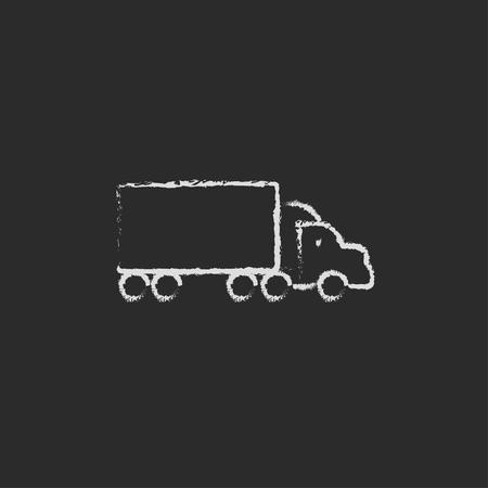 칠판에 분필로 그려진 배달 트럭 손 검정색 배경에 고립 된 벡터 흰색 아이콘입니다. 일러스트