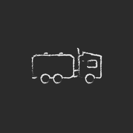 hand truck: Truck liquid cargo hand drawn in chalk on a blackboard vector white icon isolated on a black background.