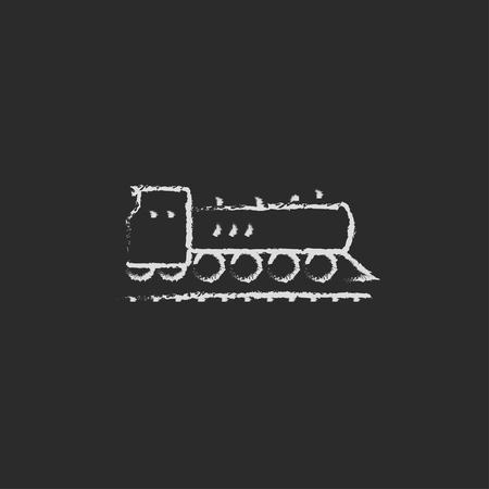 hand rails: Train hand drawn in chalk on a blackboard vector white icon isolated on a black background.