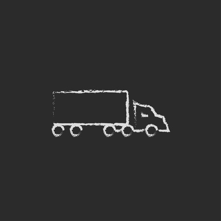 background: Delivery truck hand drawn in chalk on a blackboard vector white icon isolated on a black background.