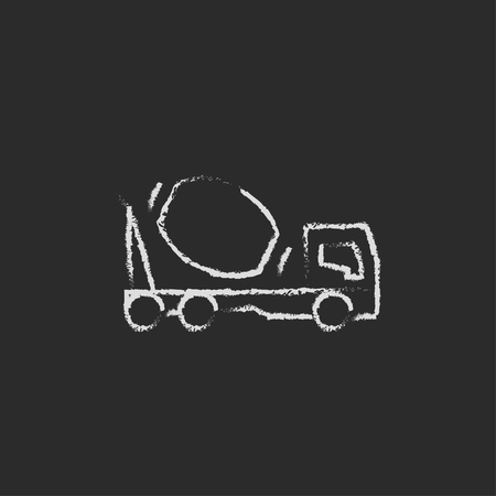 hand truck: Concrete mixer truck hand drawn in chalk on a blackboard vector white icon isolated on a black background. Illustration