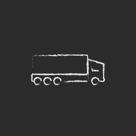 hand truck: Delivery truck hand drawn in chalk on a blackboard vector white icon isolated on a black background.