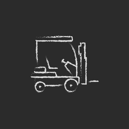 フォーク リフト スケッチ アイコンの手が黒い背景に分離された黒板白ベクトル アイコンにチョークで描かれました。