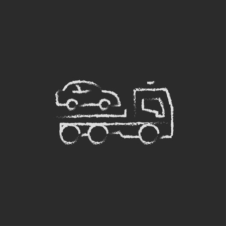 hand truck: Car towing truck hand drawn in chalk on a blackboard vector white icon isolated on a black background. Illustration