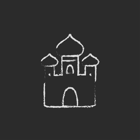 Orthodox church hand drawn in chalk on a blackboard vector white icon isolated on a black background.