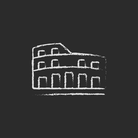 Coliseum hand drawn in chalk on a blackboard vector white icon isolated on a black background.