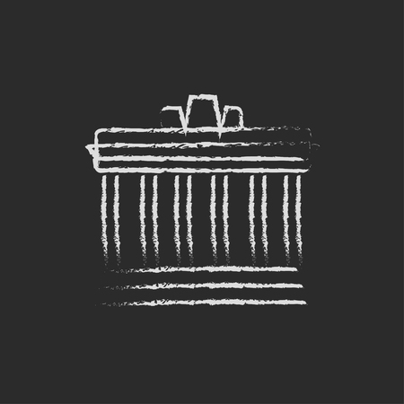 the acropolis: Acropolis of Athens hand drawn in chalk on a blackboard vector white icon isolated on a black background.