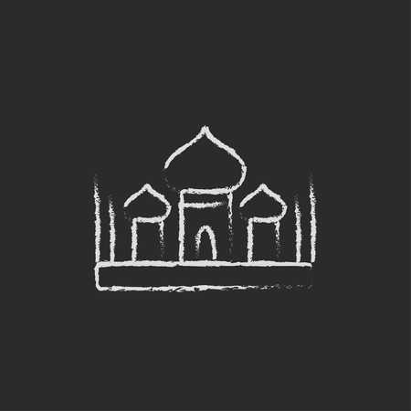 cupola: Mosque hand drawn in chalk on a blackboard vector white icon isolated on a black background.