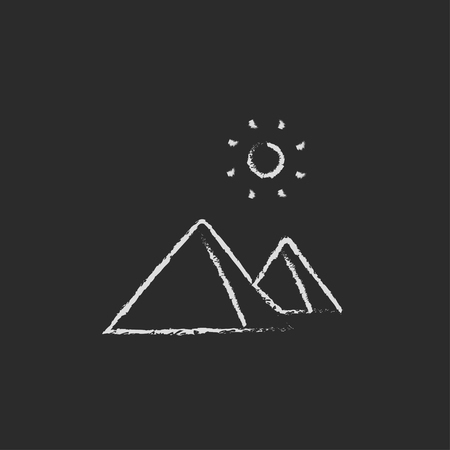 Egyptian pyramids hand drawn in chalk on a blackboard vector white icon isolated on a black background. Illustration
