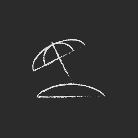 Beach umbrella hand drawn in chalk on a blackboard vector white icon isolated on a black background.