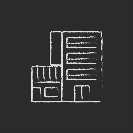 multi storey: Hotel building hand drawn in chalk on a blackboard vector white icon isolated on a black background. Illustration