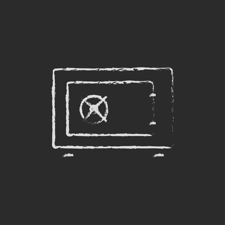 Safe hand drawn in chalk on a blackboard vector white icon isolated on a black background. Illustration