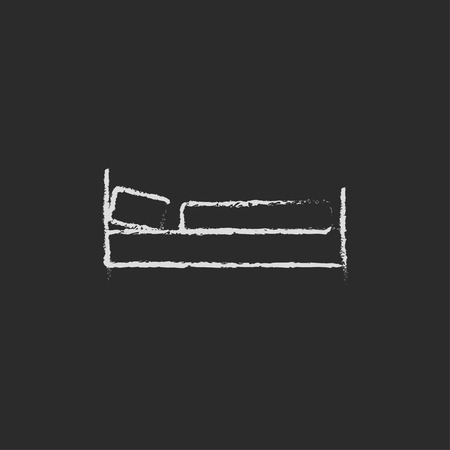 Bed hand drawn in chalk on a blackboard vector white icon isolated on a black background. 向量圖像