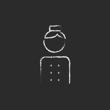 bellboy: Bellboy hand drawn in chalk on a blackboard vector white icon isolated on a black background. Illustration