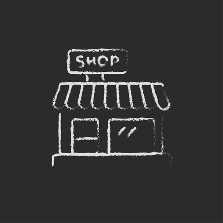 awnings: Shop hand drawn in chalk on a blackboard vector white icon isolated on a black background. Illustration