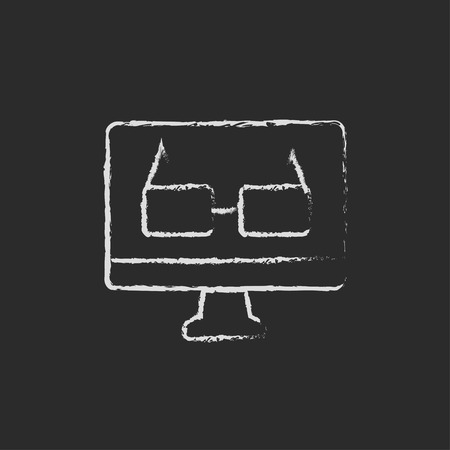 Computer monitor and glasses hand drawn in chalk on a blackboard vector white icon isolated on a black background. Illustration