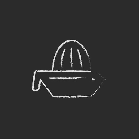 squeezer: Lemon squeezer hand drawn in chalk on a blackboard vector white icon isolated on a black background.