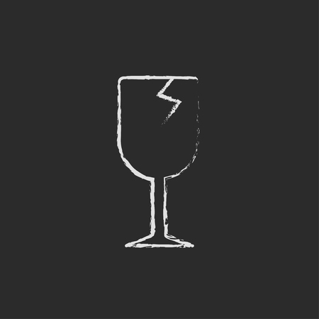 cracked glass: Cracked glass sketch icon hand drawn in chalk on a blackboard vector white icon isolated on a black background.