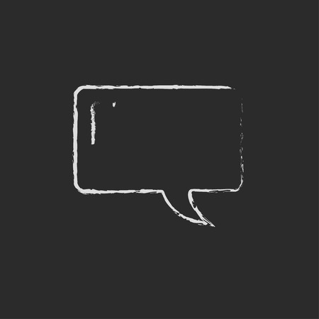 Speech square hand drawn in chalk on a blackboard vector white icon isolated on a black background.