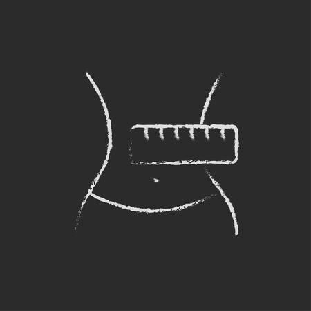 Waist with measuring tape hand drawn in chalk on a blackboard vector white icon isolated on a black background.