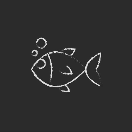 black fish: Little fish under water hand drawn in chalk on a blackboard vector white icon isolated on a black background. Illustration