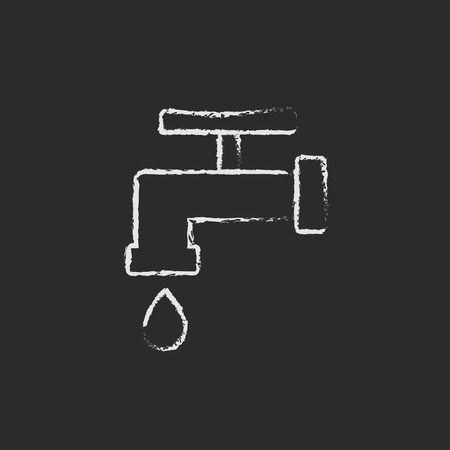 Faucet with water drop hand drawn in chalk on a blackboard vector white icon isolated on a black background.