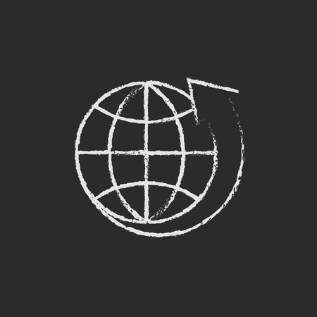 flat earth: Earth and arrow around hand drawn in chalk on a blackboard vector white icon isolated on a black background. Illustration