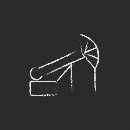 black jack: Pump jack oil crane hand drawn in chalk on a blackboard vector white icon isolated on a black background. Illustration