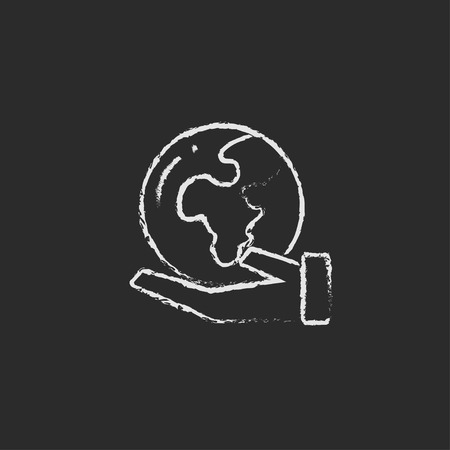 Hand holding the Earth sketch icon for web, mobile and infographics. Hand drawn vector dark grey icon isolated on light grey background. Illustration