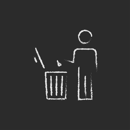 garbage man: Man throwing garbage in a bin sketch icon for web, mobile and infographics. Hand drawn vector dark grey icon isolated on light grey background.