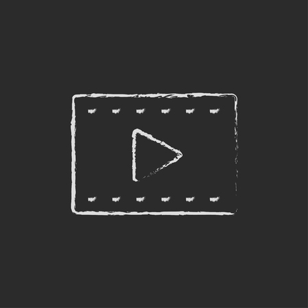 white chalk: Film frame hand drawn in chalk on a blackboard vector white icon isolated on a black background.