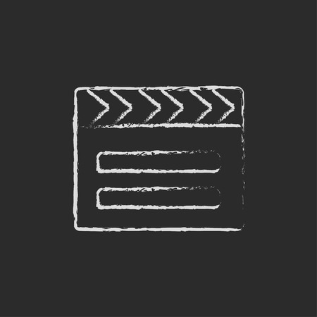flick: Clapboard hand drawn in chalk on a blackboard vector white icon isolated on a black background.